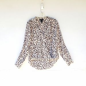 Women's Top Leopard Print Long Sleeve Blouse